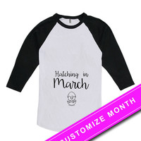 Easter Pregnancy Announcement Shirt Pregnancy T Shirt Hatching In March Maternity Clothing Mom To Be American Apparel Unisex Raglan MAT-491