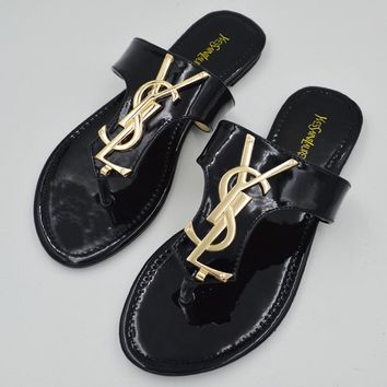 YSL Woman new fashion flip-flops sandals slippers shoes Black