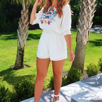 Think It Over Romper: White/Multi