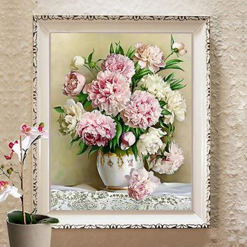 Diy DMC counted cross stitch printed on canvas Kits vase flower chinese cross stitch kits for embroidery patterns gift