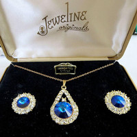 "Sapphire Blue Rivoli & Clear Rhinestones Pendant Necklace and Earrings Set Vintage ""Jeweline Originals"" Wedding"