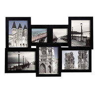 Furnistar Decorative Black Wood Interlocking Collage Wall Hanging Picture Photo Frame