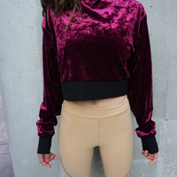 Maroon Crushed Velvet Cropped Sweatshirt