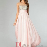 A-Line Bateau Sleeveless Chiffon Prom Dress/Party Dresses With Beaded VTBK117