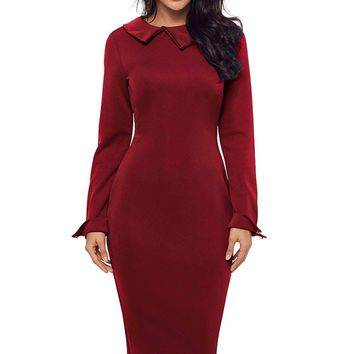 Burgundy Lapel Neck Bodycon Formal Office Dress Pencil Dress