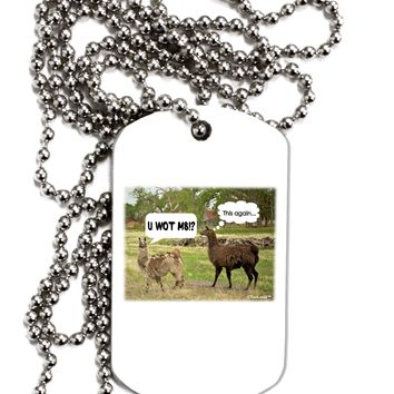 Angry Standing Llamas Adult Dog Tag Chain Necklace by TooLoud