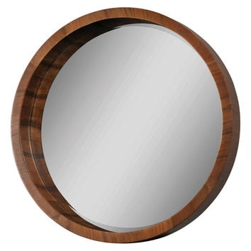 Walnut Frame Beveled Round Mirror