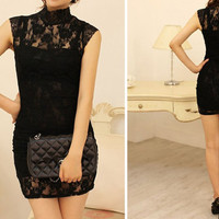 Little Black dress with lace A005