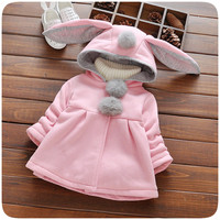 Baby Girl Winter Clothes Baby Coat Hooded Jacket Cartoon Rabbit Ears Long Sleeve Girls Jacket Autumn Girls Clothing 2016 New