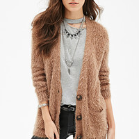 FOREVER 21 Fuzzy Knit V-Neck Cardigan Taupe