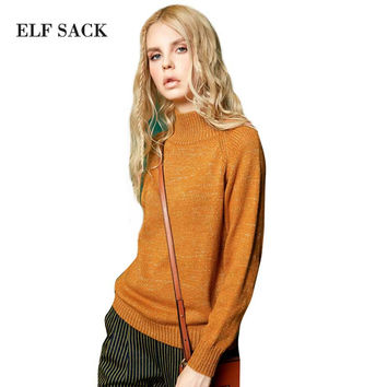 Elf SACK b autumn fashion vintage basic turtleneck pullover mix gold thread sweater female