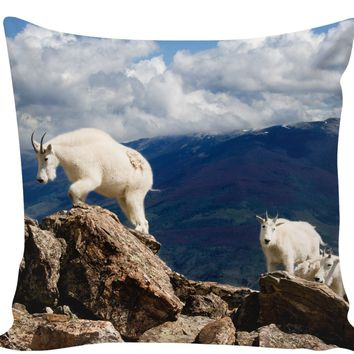 Colorado Mountain Goats Couch Pillow