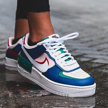 NIKE Air force AF1 macaron cream embroidery, laser vents on the upper, chrysanthemum pendant Blue
