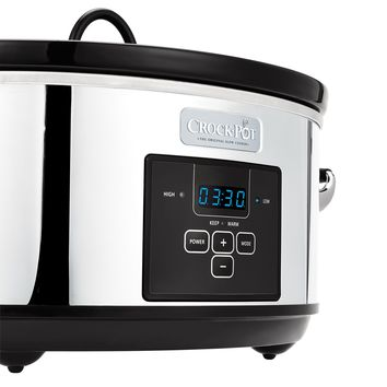Crock-Pot 7-Quart Polished Flat Control Programmable Slow Cooker, SCCPVF710-P-WM