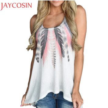 Summer Fashion Feather Sleeveless Vest Women Casual Lady T Shirt Casual Lady Girl Blouse Blusa Tank Tops Exercise Pullovers Ma13