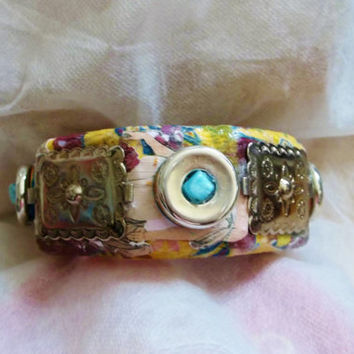 Upcycled, Hand Made Embellishments, Wooden Bangle Bracelet, Bright Colors, Steampunk Flavor, Chunky, Silver Discs, Blue Beads