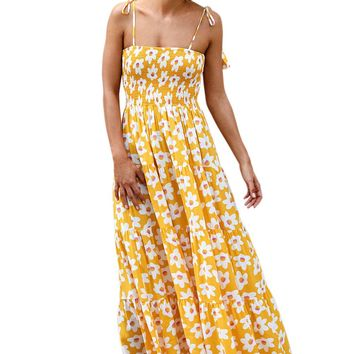 Yellow Floral Printed Summer Holiday Maxi Dress