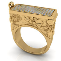 Art Deco Poison Ring in 14 kt Solid Gold and Micro Pave Diamonds