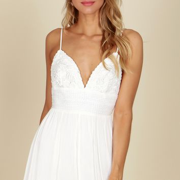 Crochet Tank Romper Off White