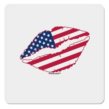 "American Flag Lipstick 4x4"" Square Sticker by TooLoud"