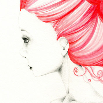 Watercolor Painting Fashion Illustration Pencil Drawing Giclee Print Original Watercolor Painting Valentines Day Gift For Her Red ohtteam