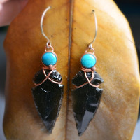 Obsidian Arrowhead Earrings Turquoise and Copper Wire Wrapped Arrowheads Soldered Art Earrings Jewelry Native American Indian Real Turquoise