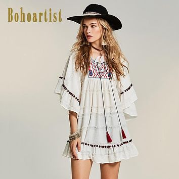Women Embroidery Dress Ruffles Straps Tassel Dress White Party Ladies Chic Back Hippie Dresses