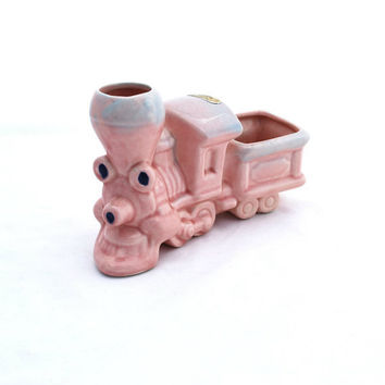 Vintage Ceramic Train Allen Shaw Pink Nursery Decor