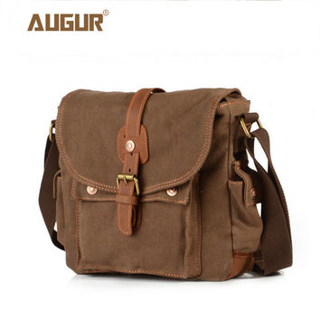 2017 Canvas Leather Crossbody Bag Men Military Army Vintage Messenger Bags Large Shoulder Bag Casual Travel Bags