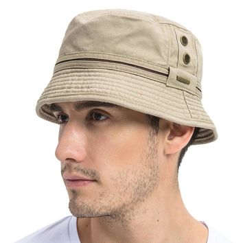 VOBOOM Summer Khaki Bucket Hat Men Plain Solid Wide Brim Twill Cotton Boonie Giggle Hats Eyelets Sun Cap 102