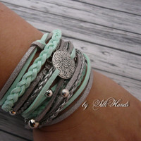 Wrap Bracelet, boho chic, Women's Wrap Bracelet, Fashion Bracelet,  double wrap bracelet - Lucky bracelet - mint - summer