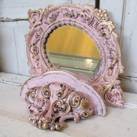 Plaster mirror and shelf pink and gold baroque style vintage shabby chic ornate set wall hanging home decor anita spero
