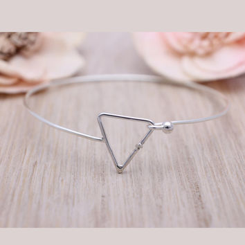 925 sterling silver open triangle bangle bracelet