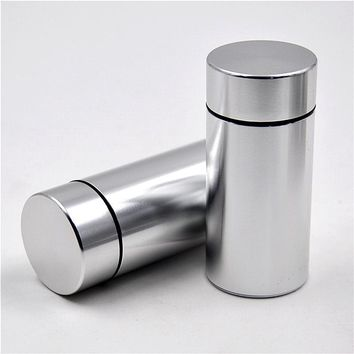1 X Pill Box WaterProof Rubber Air Tight Silvery Aluminum Drug Case Bottle Holder Container Bottle Storage