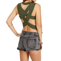 Olive Criss Cross Open Back Top