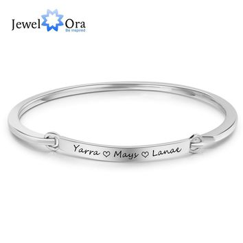Personalized ID Braceles Customize Engrave Name 2 Colors Fashion Bracelets & Bangles For Women (JewelOra BA102095)