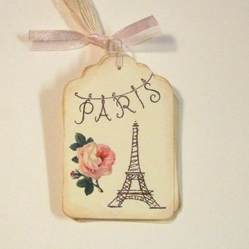Paris Tags-  Set of 6 - French - Shabby Chic - Rose