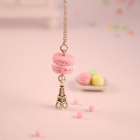 pink macaroon necklace - food jewelry