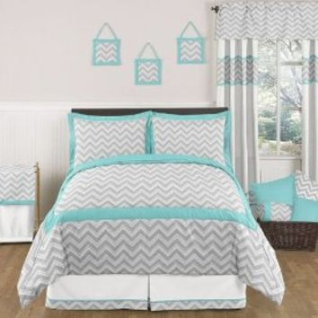 Turquoise and Gray Zig Zag Childrens, Kids, Teen 3 Piece Full / Queen Girl or Boy Chevron Bedding Set