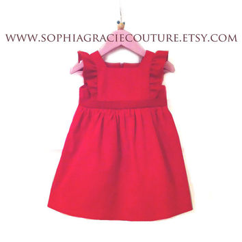 Baby Girl Red Needlecord Party Dress, Different Colour Options Available! 0-3 months up to 18-24 months, Baby Girl Dress, 1st Birthday Dress