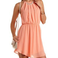 Curved Hem Chiffon Halter Dress by Charlotte Russe - Apricot