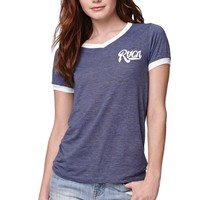 RVCA Bench Warmer T-Shirt - Womens Tee - Blue