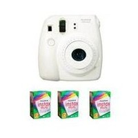 Fujifilm Instax Mini 8 Camera, 62x46mm Picture Size, White - Bundle - with Three TwinPacks of Instax Mini Instant Daylight Film, 20 Exposures (Total 60 Sheets)