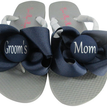 Gray Silver Wedding Flip Flops for the Groom's Mom- choose Bows & colors