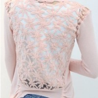 Hitece@ Pink Women's Hollow Flower Sleeves Lace Crochet Knitwear Cardigan Coat Sweater Tops