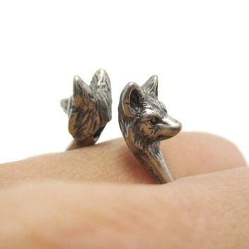 3D Double Wolf Face Shaped Ring in Silver | Animal Jewelry