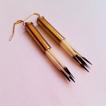 Real Porcupine Quills Bullet - Taxidermy Earrings