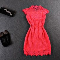 Casual Lace Embroidered Lace Beaded Collar Sleeveless Mini Dress