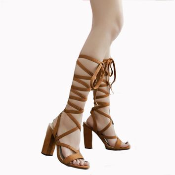 Mila Lace Up Block Heel Sandals 2 Colors