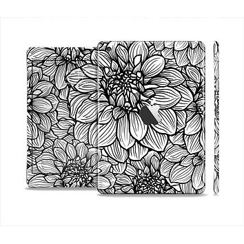 The White and Black Flower Illustration Skin Set for the Apple iPad Mini 4